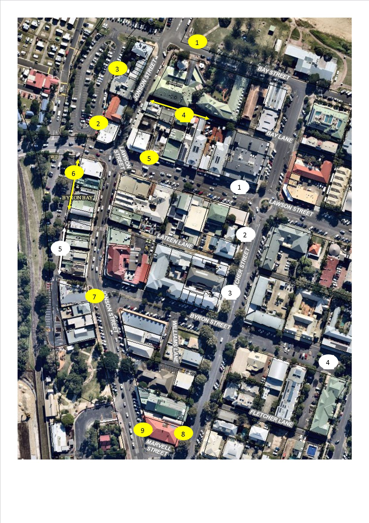 Map of Loading Zones Byron CBD