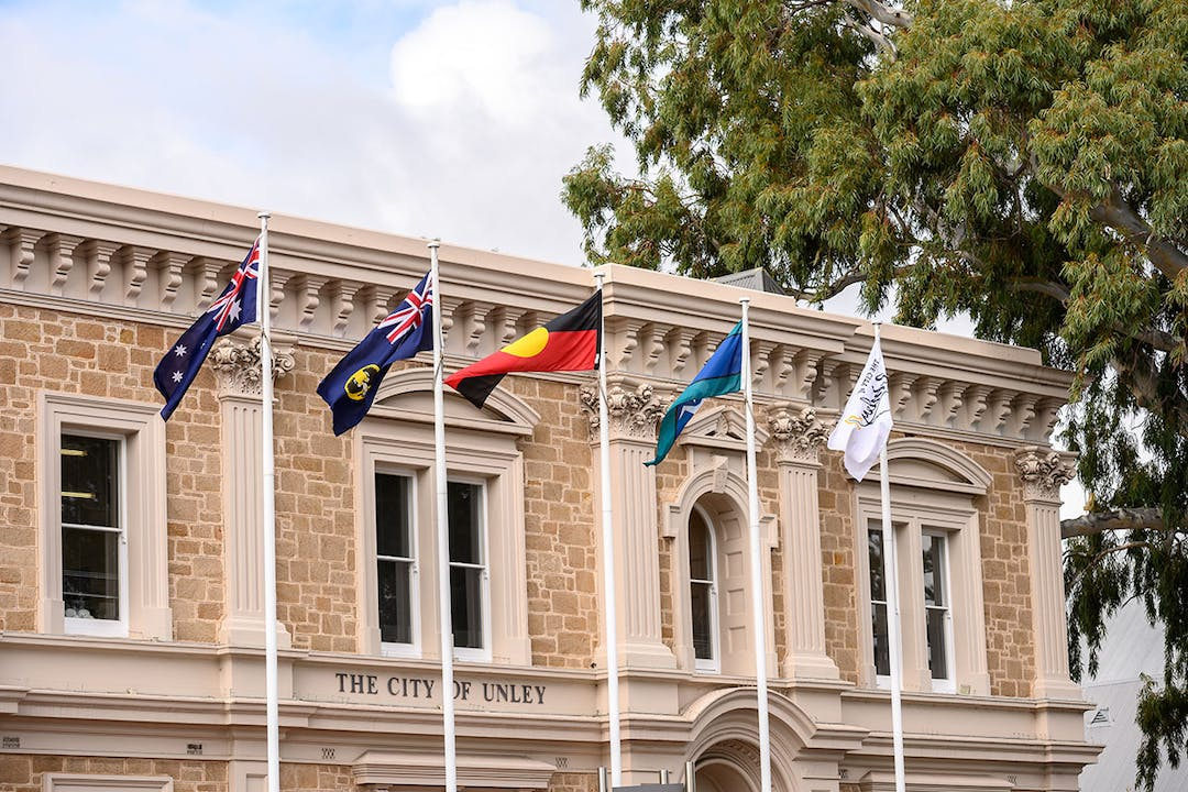 Flags flying in front of Unley Civic Centre