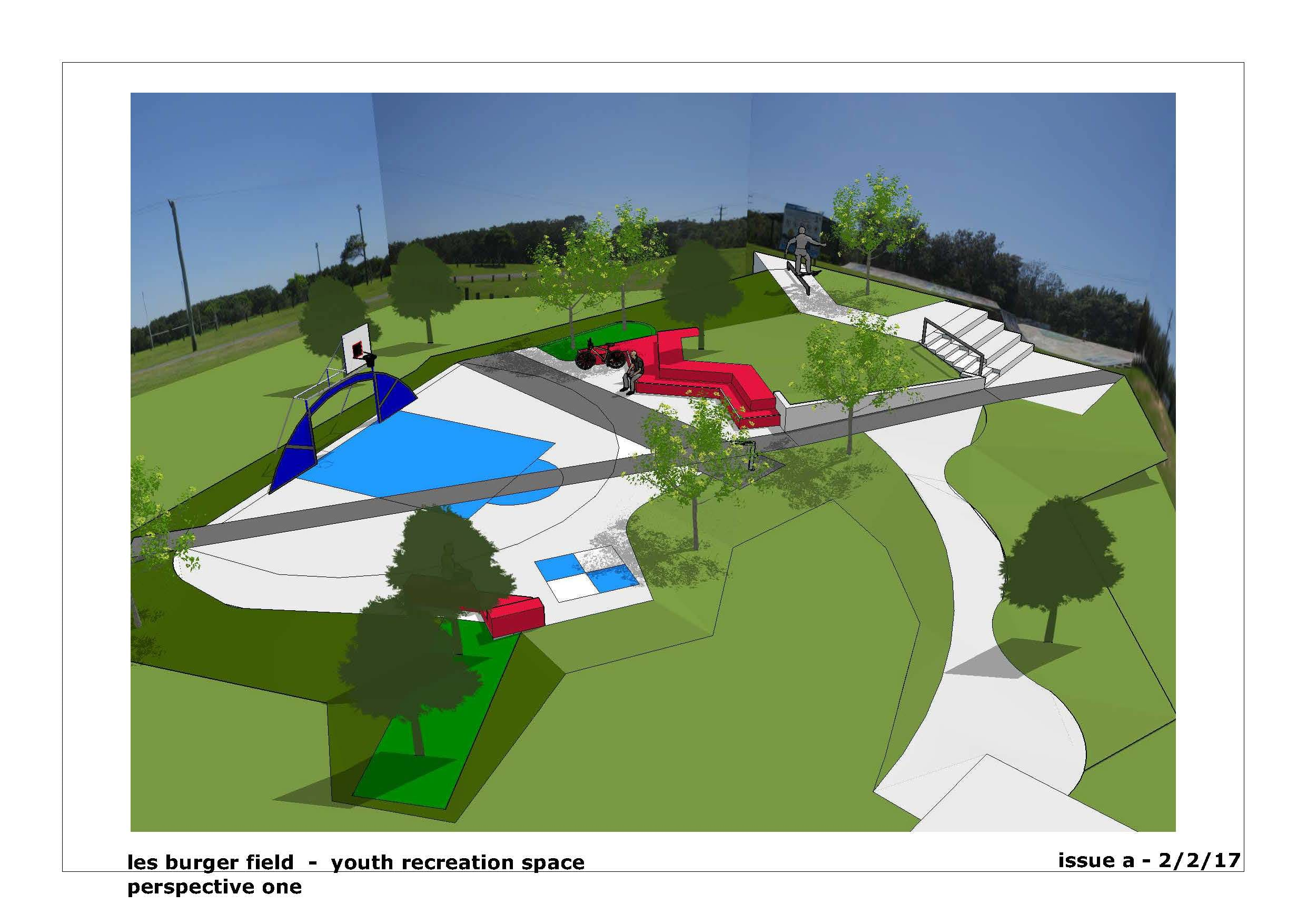 Artist's impression of the expanded youth recreation area - View 1