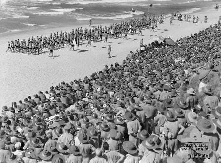 Gaza Beach.  March past of Australian lifesavers 1941