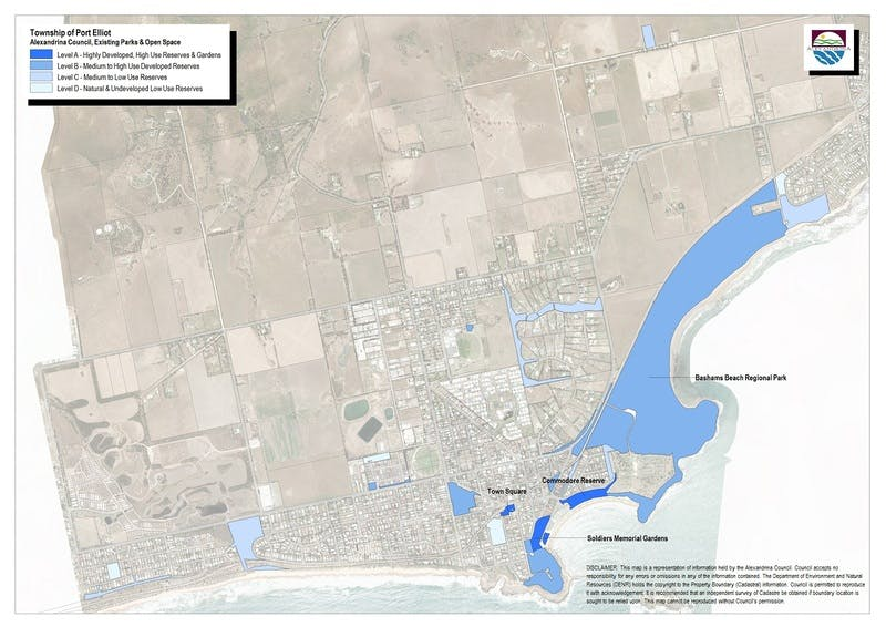 Map of parks-open space in Port Elliot