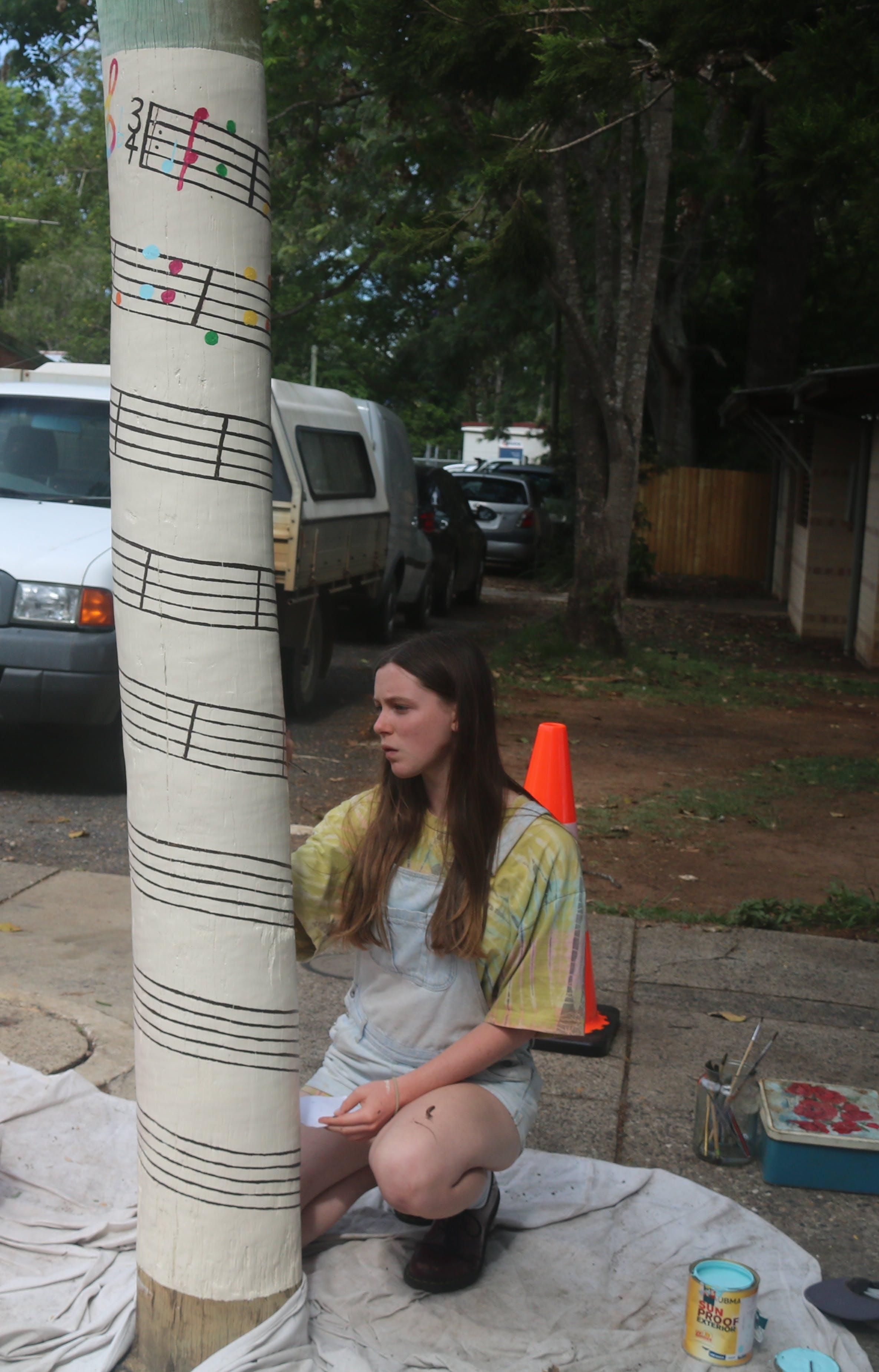 Pilot Pole Painting in Progress