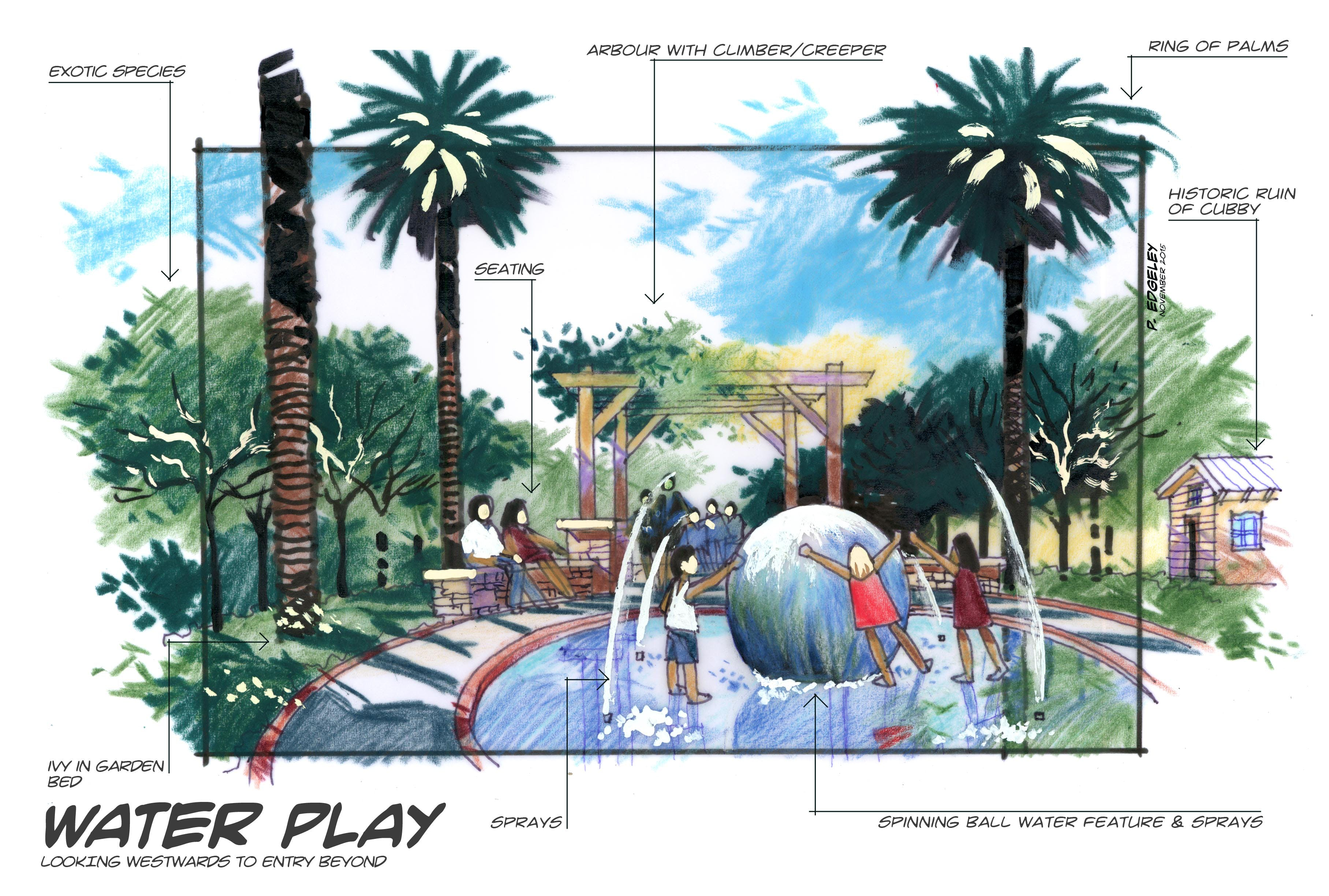 Arbour and waterplay area