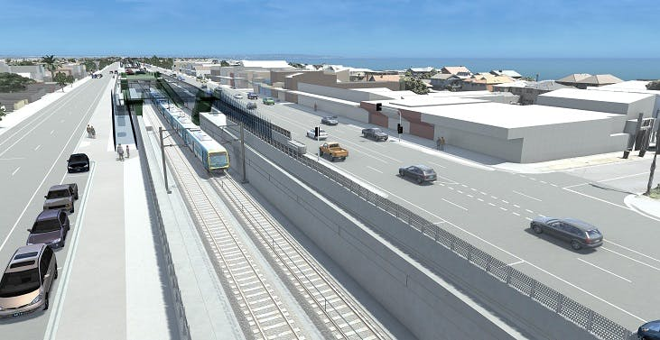 Artist impressions of Edithvale Road, Edithvale, rail under the road.
