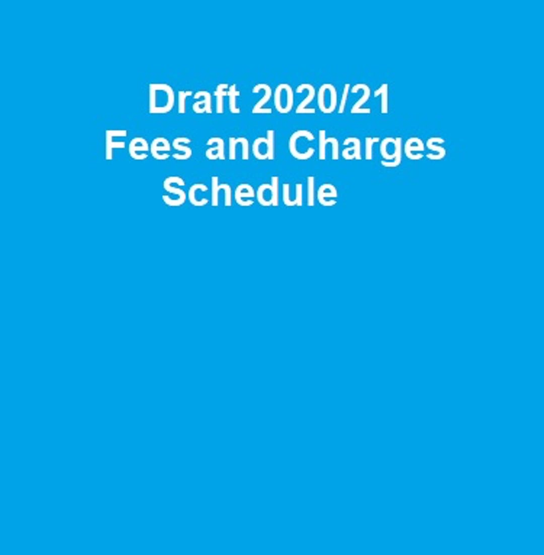 Draft 2020/21 Fees and Charges Schedule