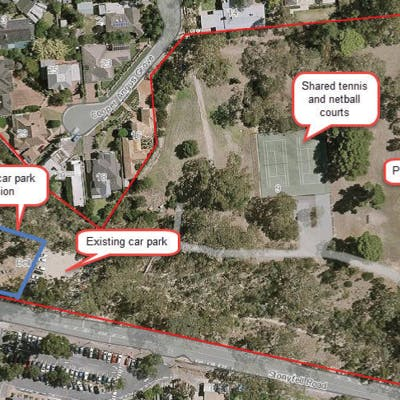 Aerial view of Bell Yett Reserve indicating the existing and proposed expansion of the public car park.