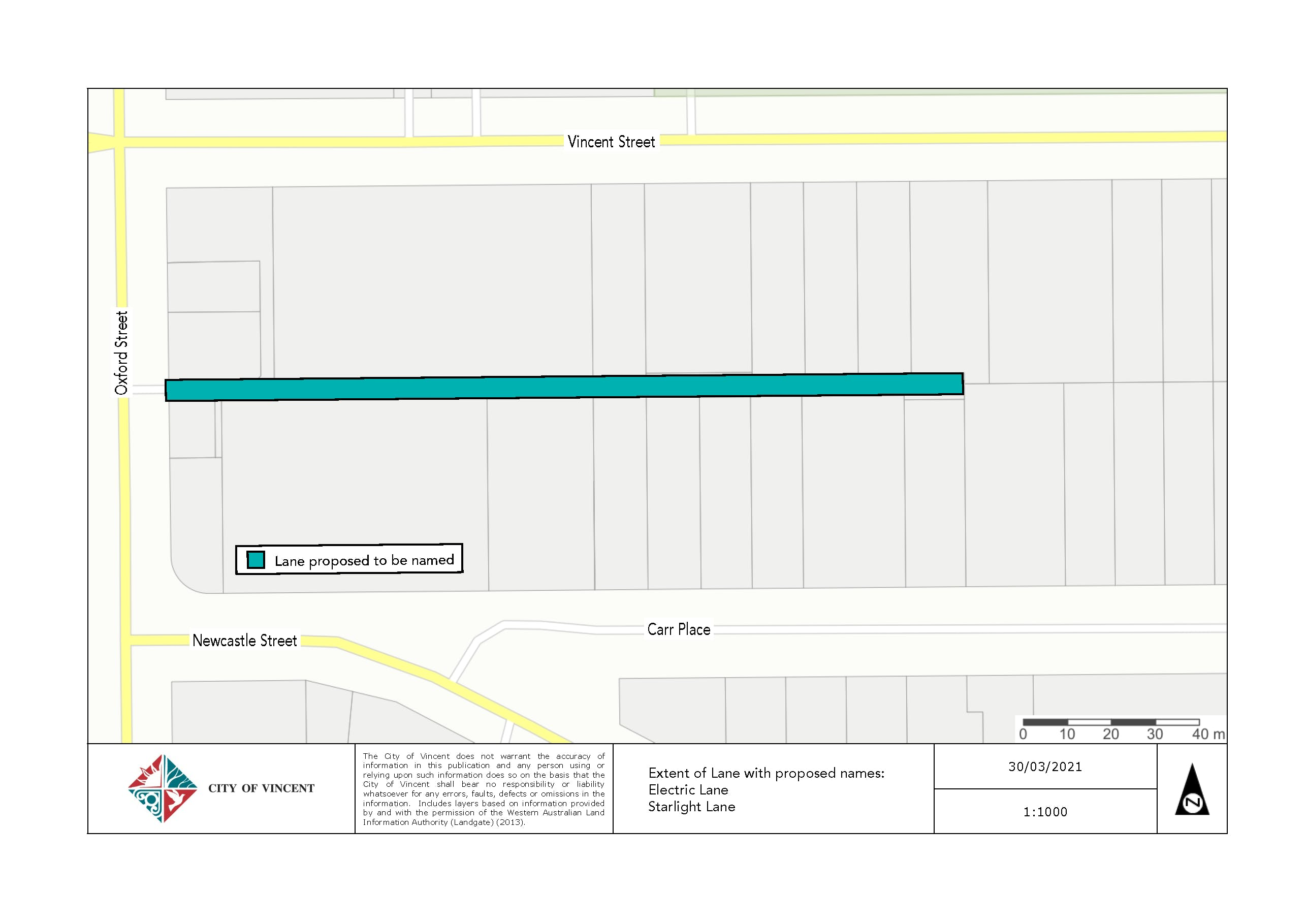 Plan showing location and extent of laneway