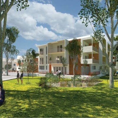 Artist impression showing street view from Mabel Talbot Park