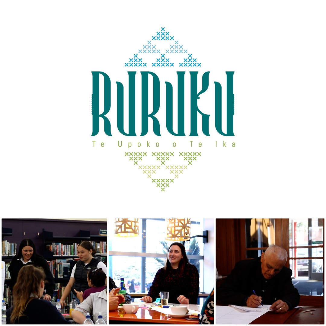Ruruku logo collage with photos from workshops