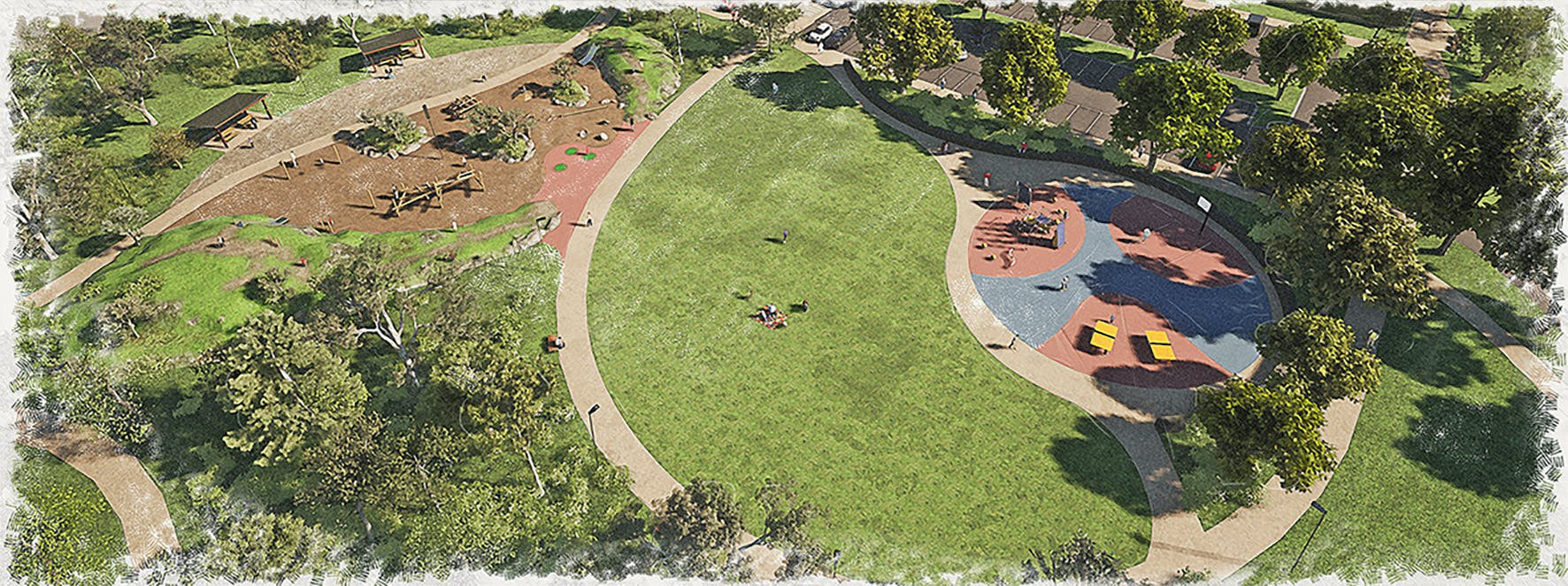 Aerial impression of upgraded playspace and landscape