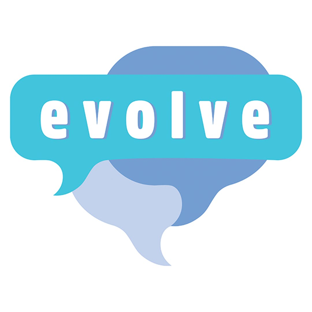 The Evolve logo shows multiple speech bubbles to represent the project's focus of communicating with the community.