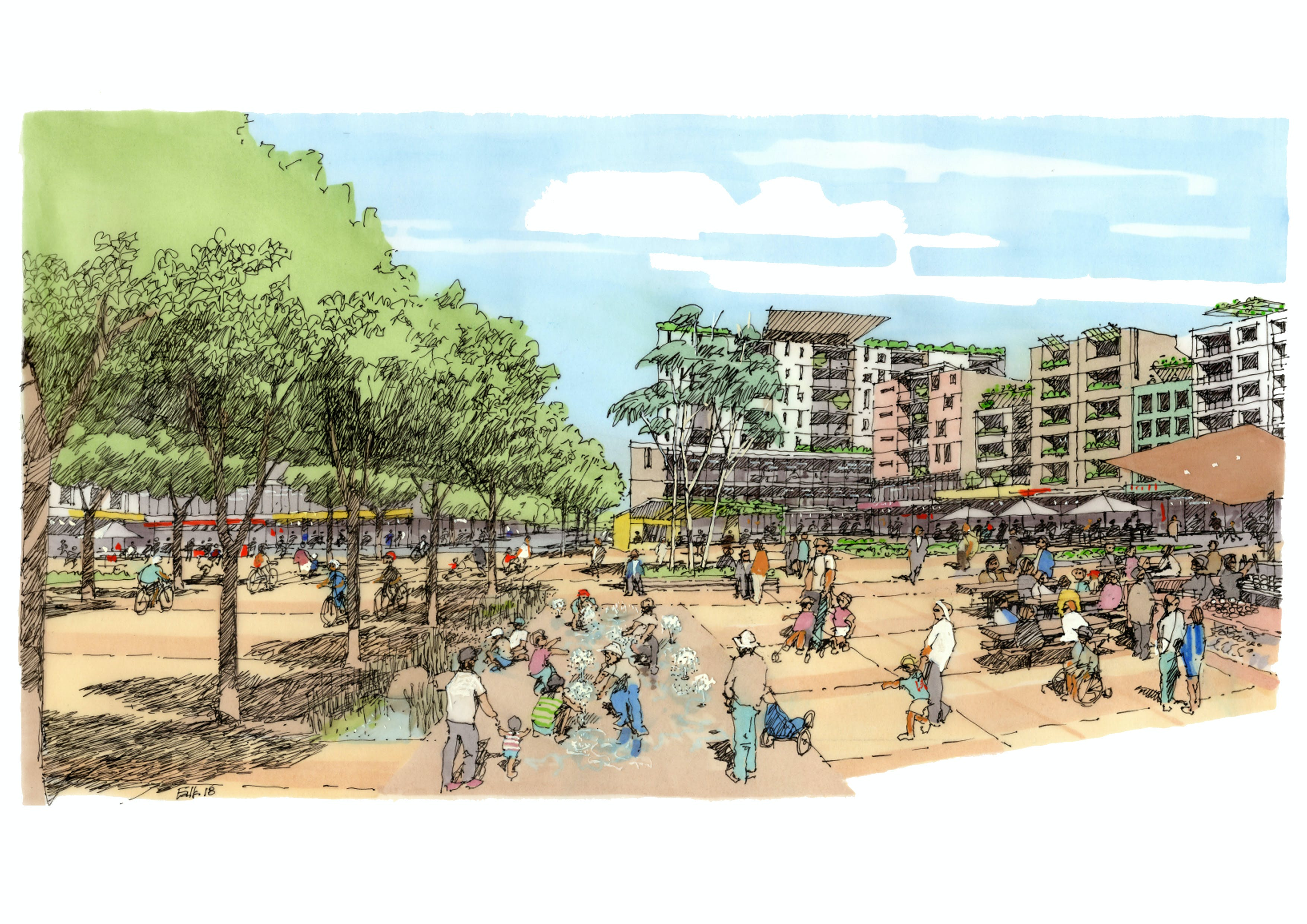 Artist Illustration 1 - View of future town square