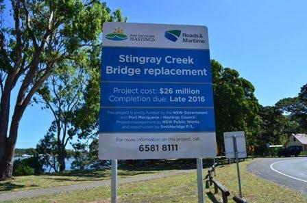 Stingray Creek Bridge Replacement Sign
