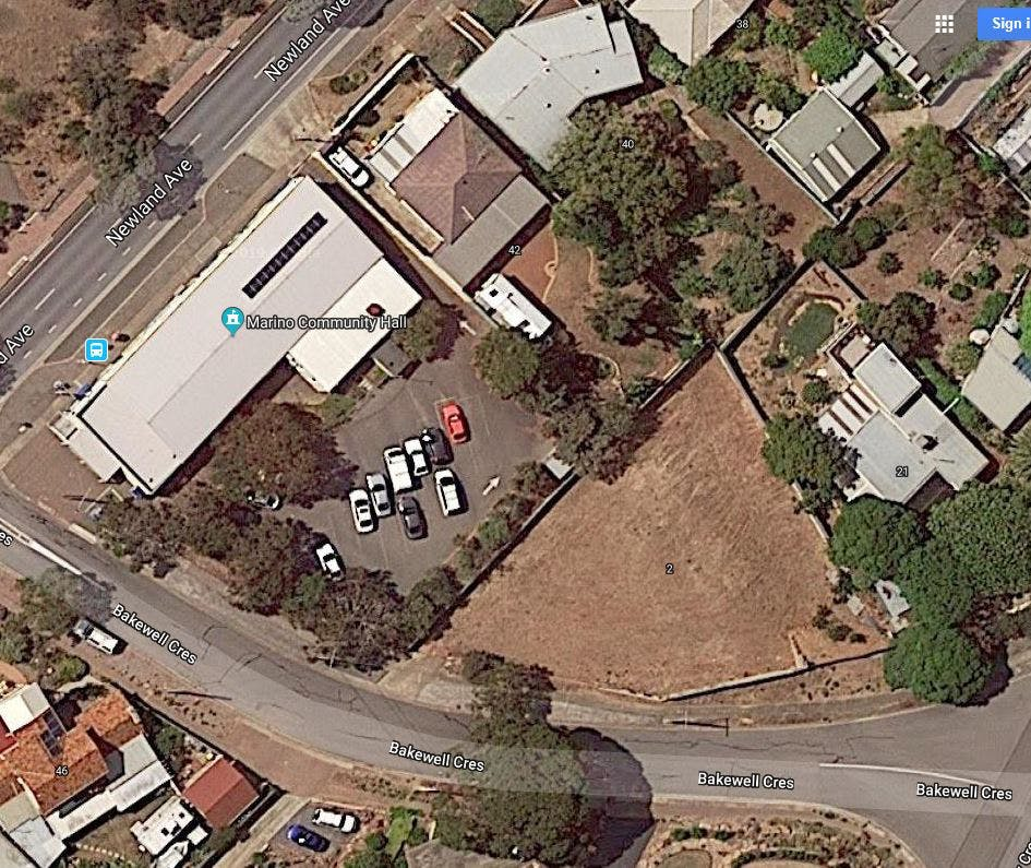 Marino Community Hall aerial photo