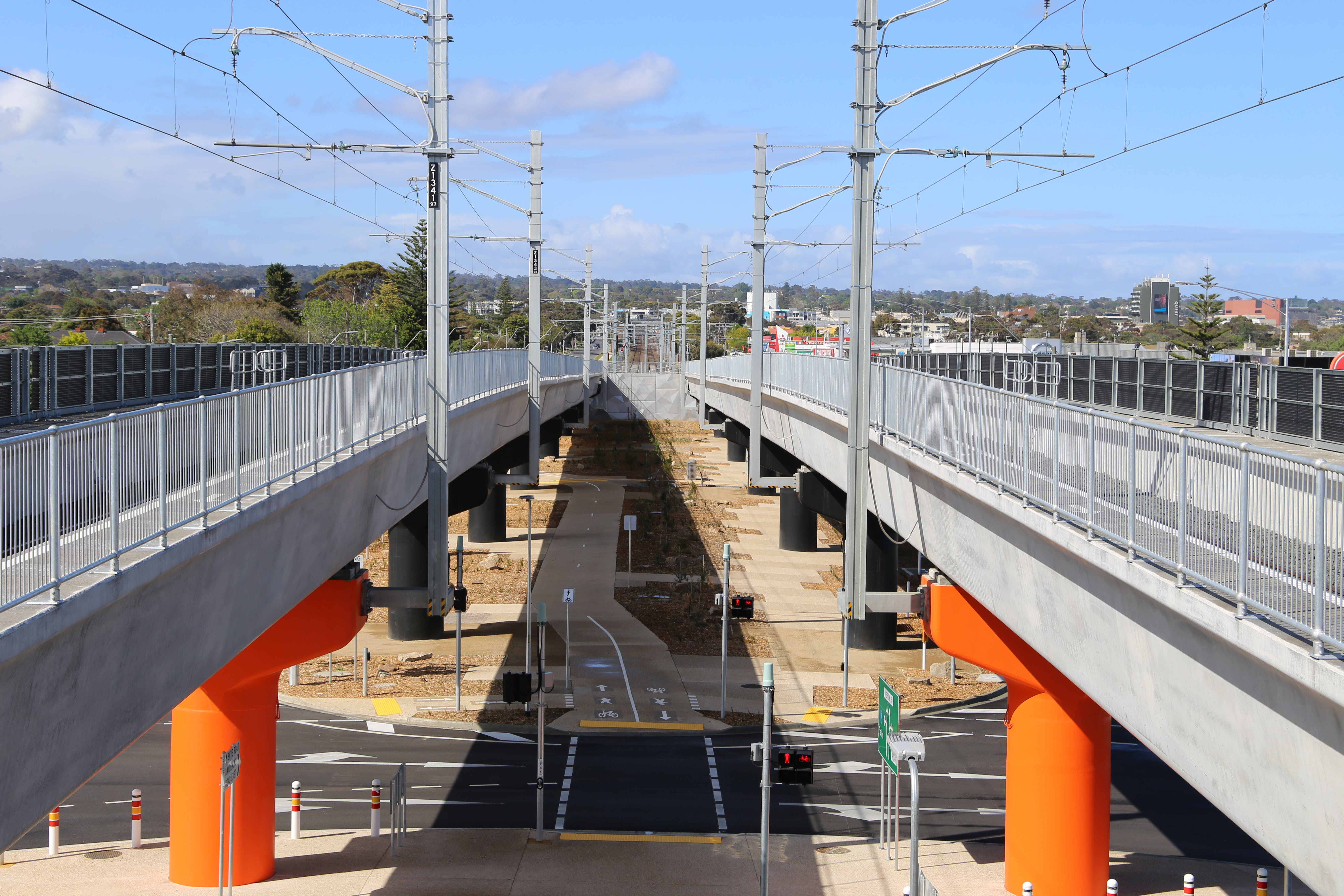 The new elevated structure over the road