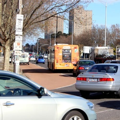 Cars and a bus on hoddle street