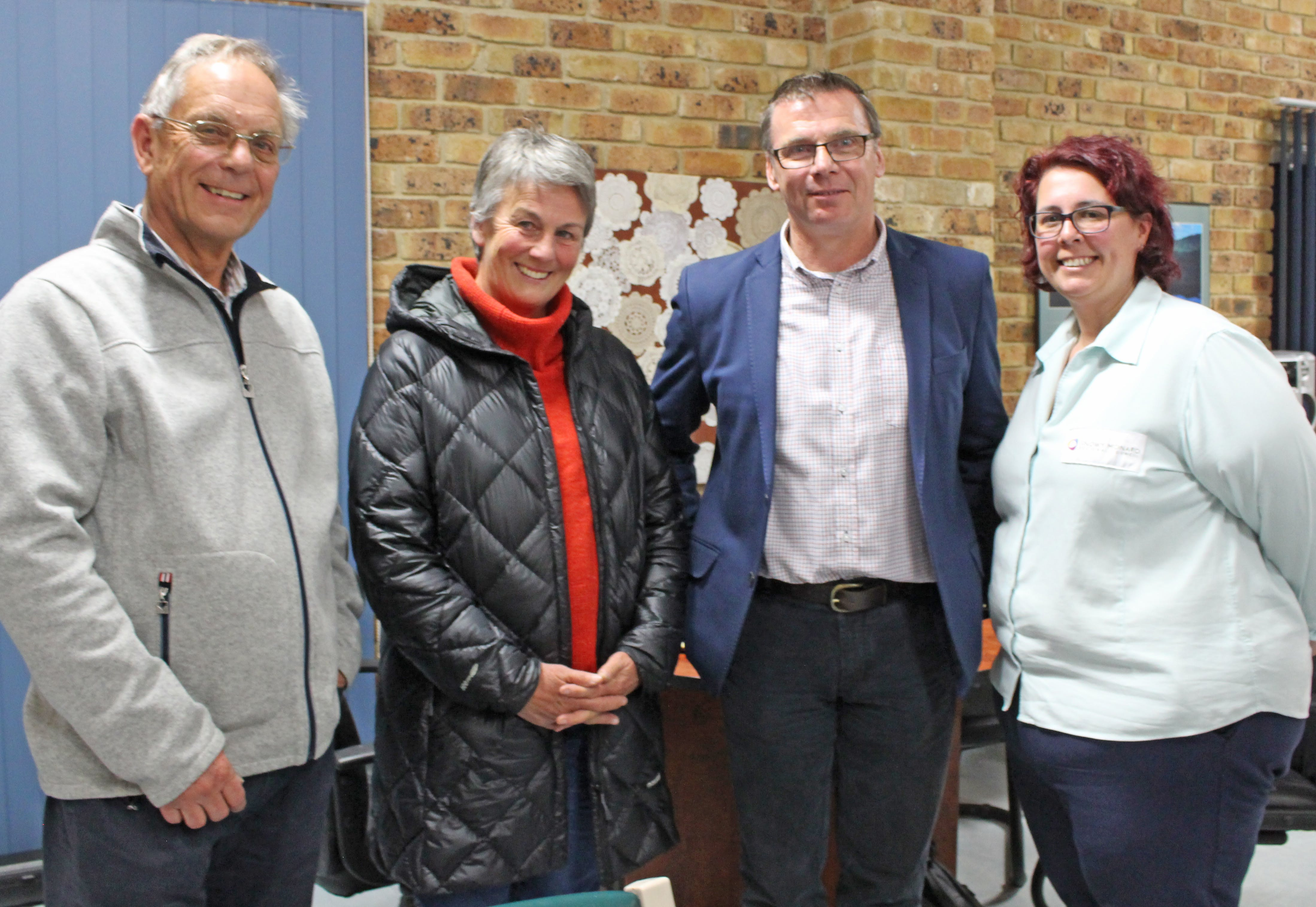 Mayor Peter Beer, Councillor Sue Haslingden, Acting Director Operations and Infrastructure Gary Shakespeare, and Group Manager Asset Management Linda Nicholson