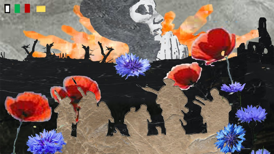 A mosaic commemorating the Fromelles Battle featuring red poppies, blue cornflours, beige outline of soldiers and a black backdrop of the battleground along with a woman praying and orange explosions in the sky.