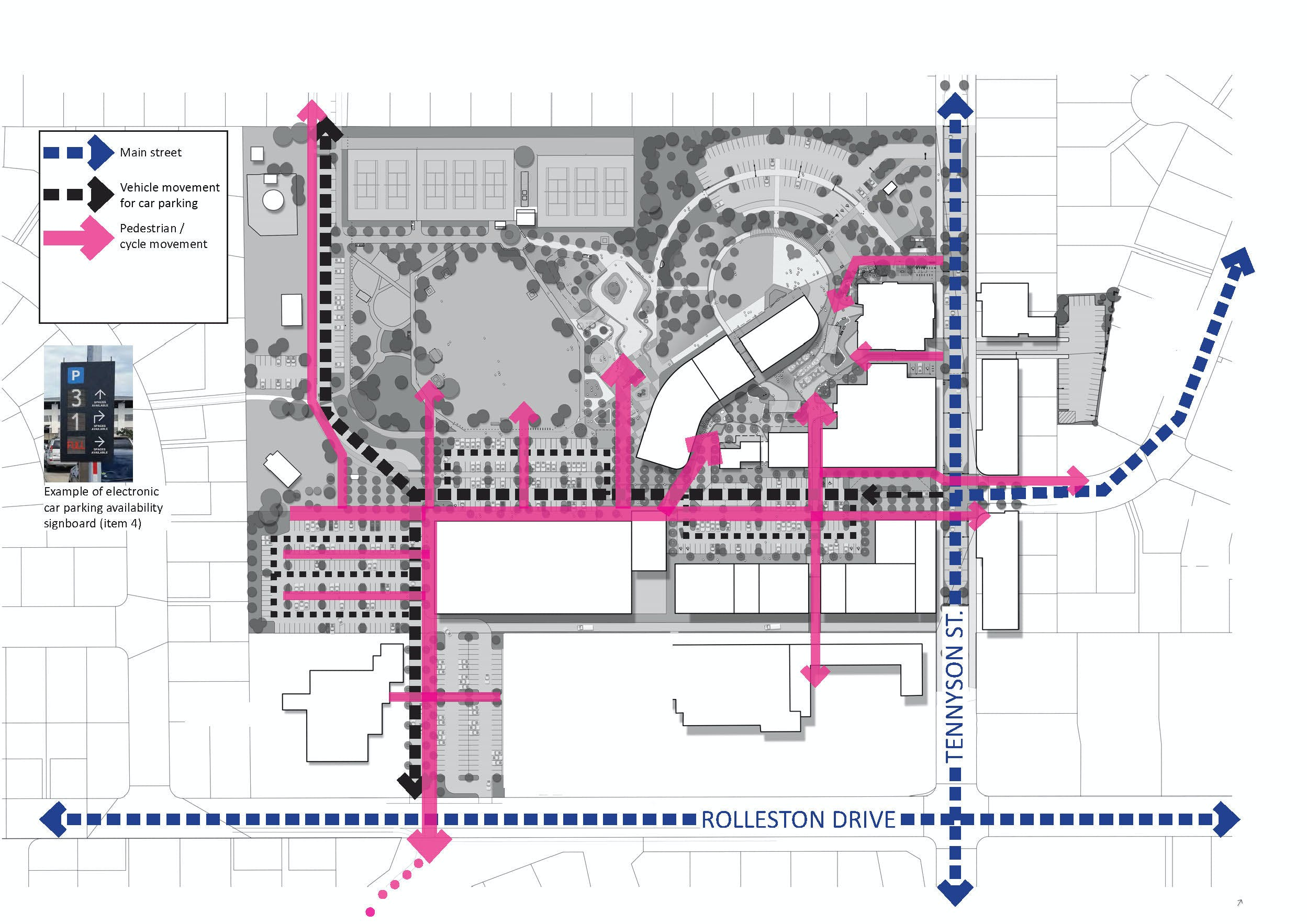 Outline of proposed pedestrian and vehicle movement within the town centre.