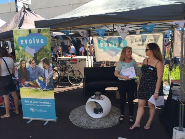 Evolve stall at the Summer Street Party - November 2015