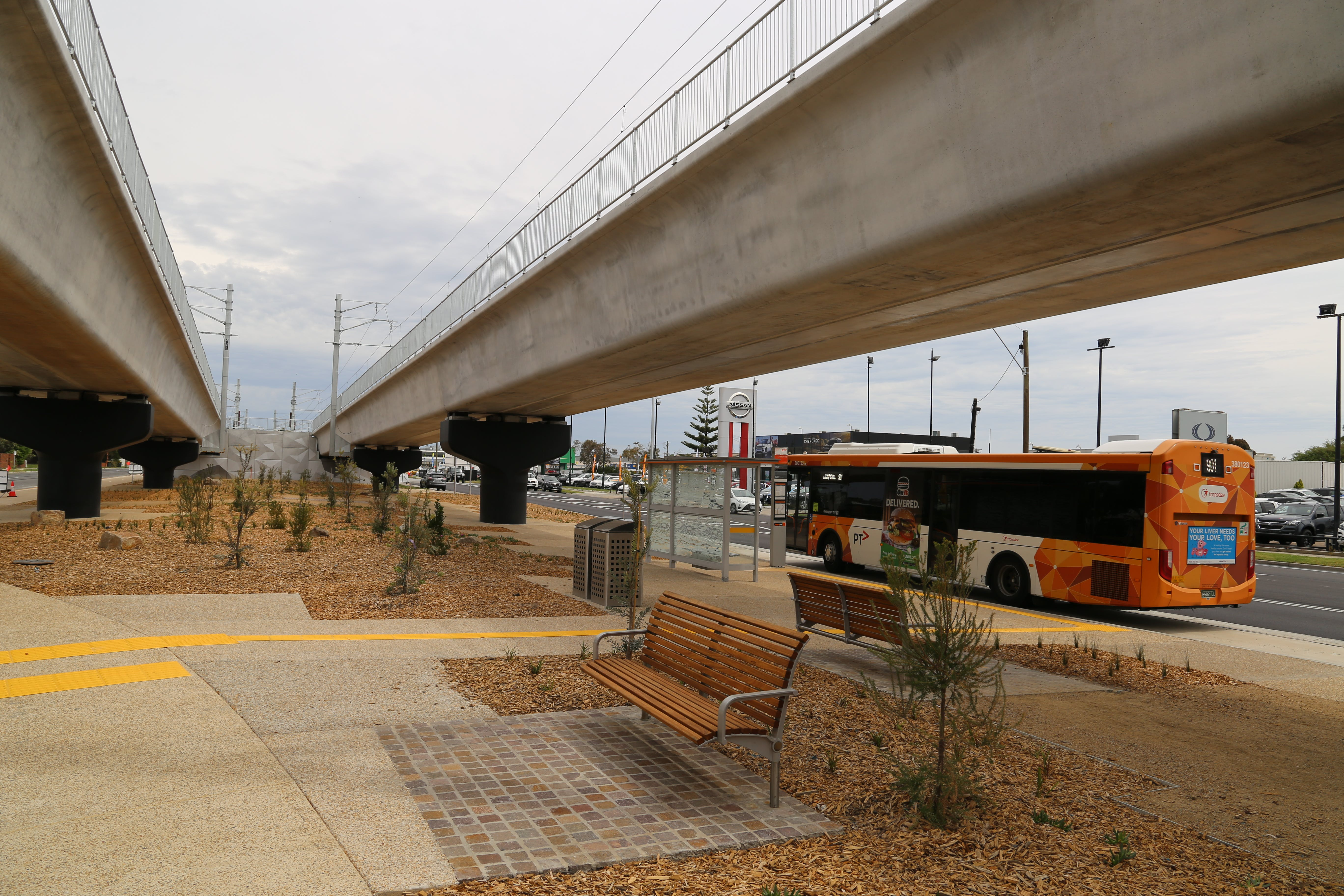 New landscaping underneath the Skye Overton rail bridge