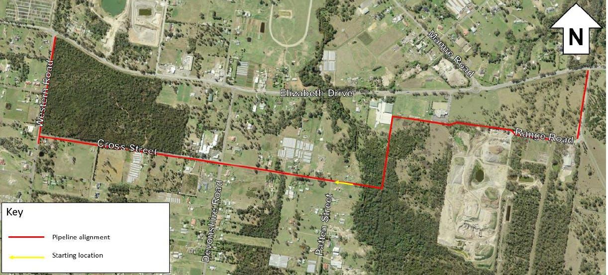 Kemps Creek - pipeline alignment map