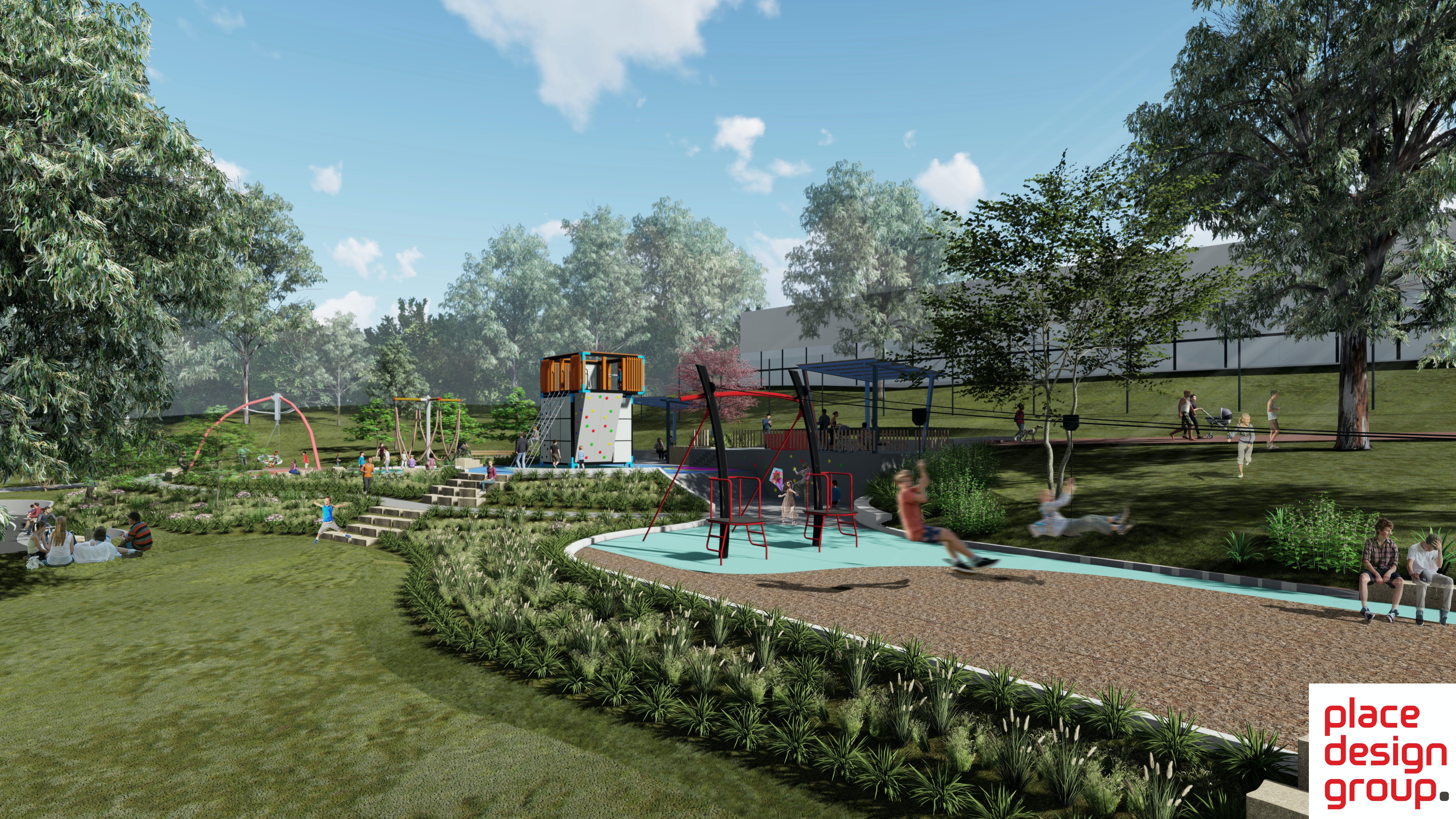 Proposed new play space at Buttenshaw Park, Springwood, featuring a double flying fox, group swing, and climbing structure.