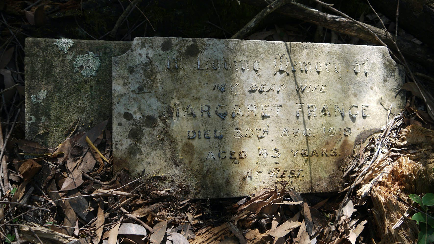 Lettering on many headstones has worn away or melted in bushfires