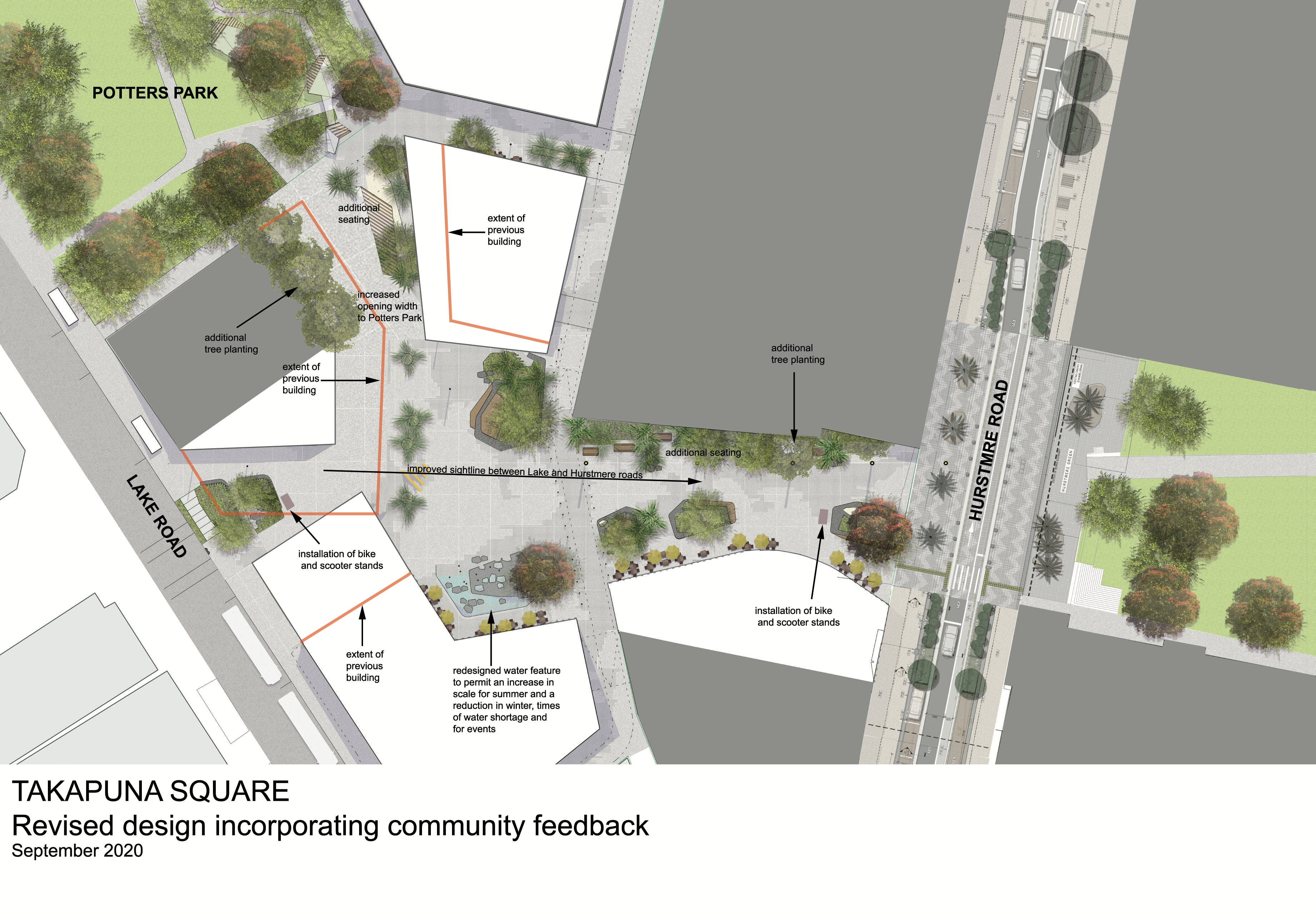 Figure 1: Refined design for Takapuna Town Square