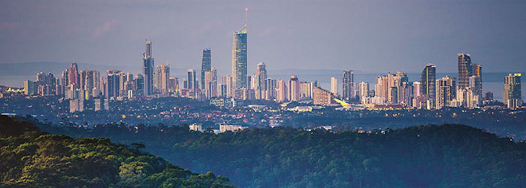The Gold Coast skyline taken from the hinterland.