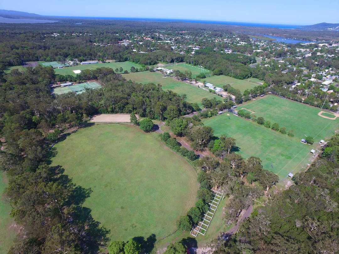 An aerial of the Noosa District Sports Complex