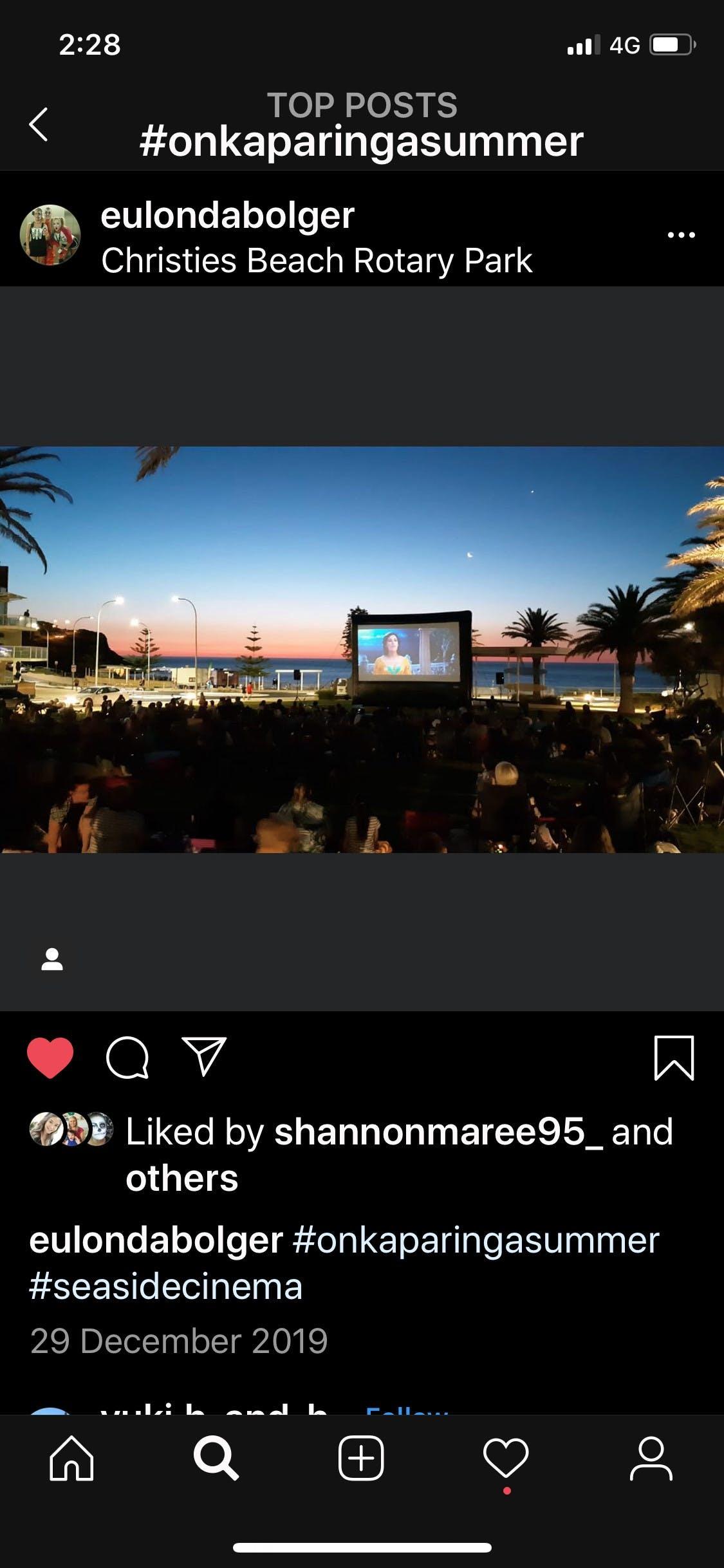 Seaside Cinema Rotary Park 28 December 2019 Aladdin Movie