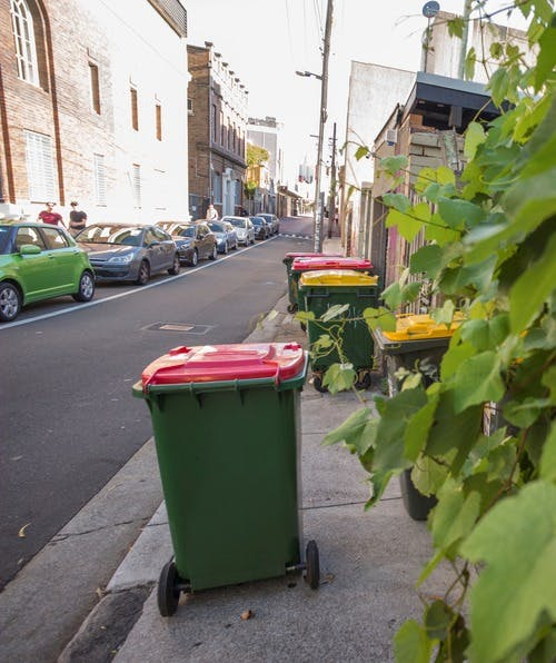 Domestic bins with red and yellow lids on the footpath of a suburban street