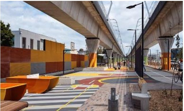 Underneath the Dandenong  elevated train line near Koornang Road, Carnegie, a mixed range of uses is available including table tennis, basketball and a shared pathway (Foreground, 2019).PNG