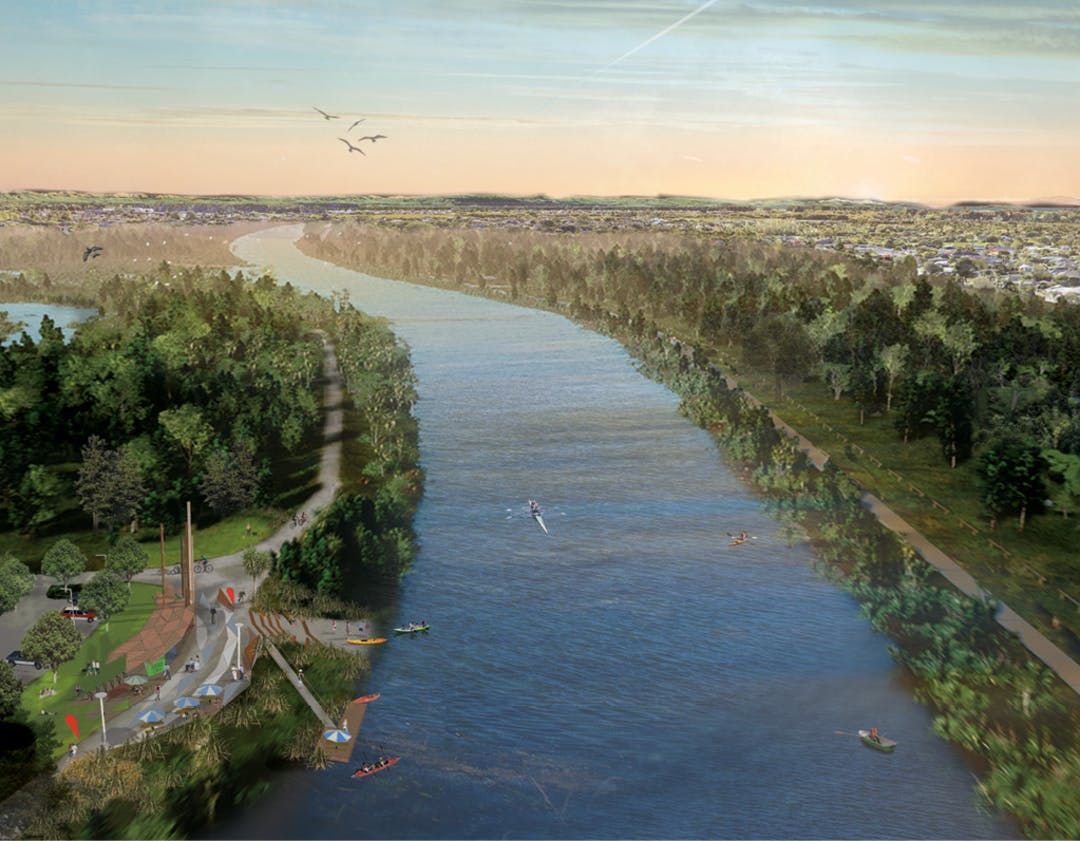 Artist impression of the river with landings and walkways