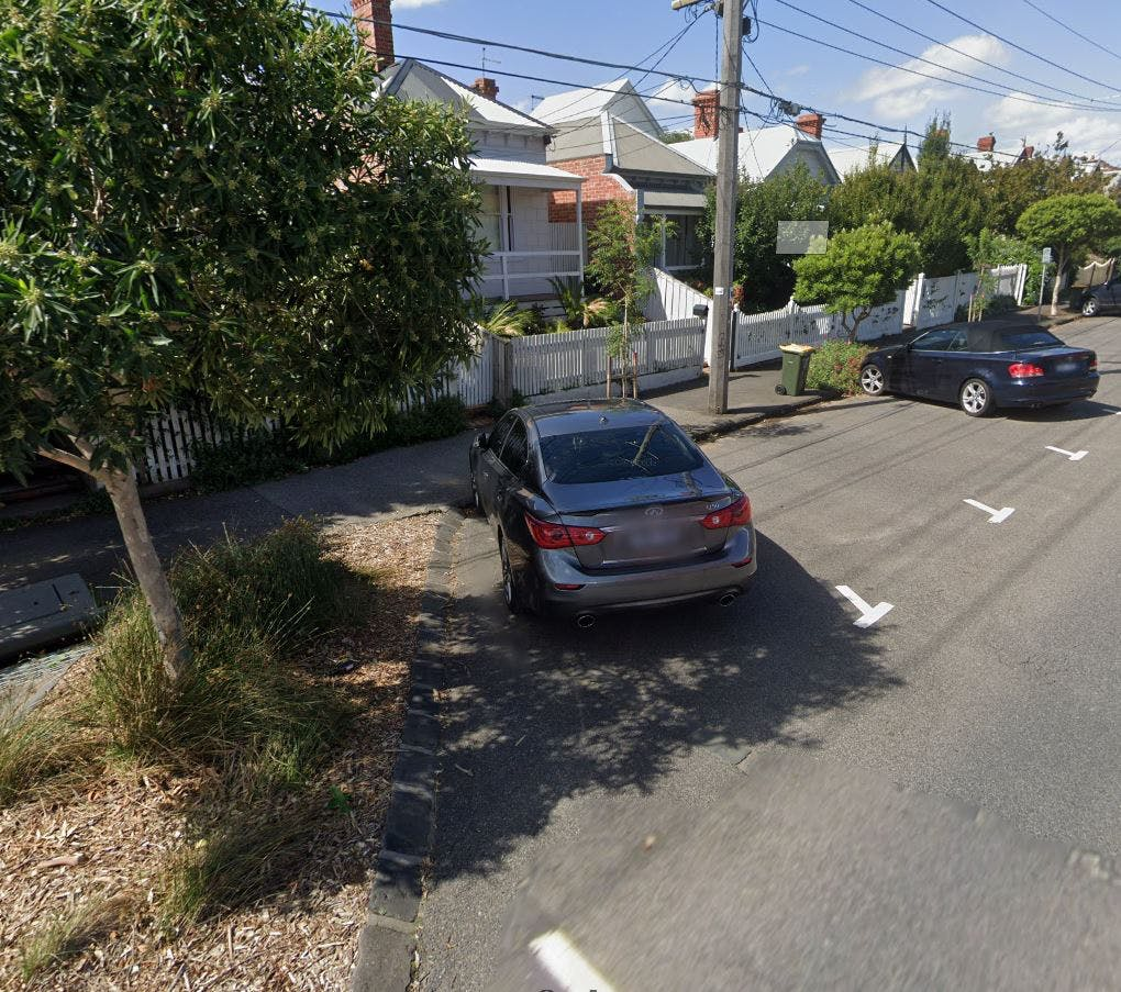 Example of indented angled parking