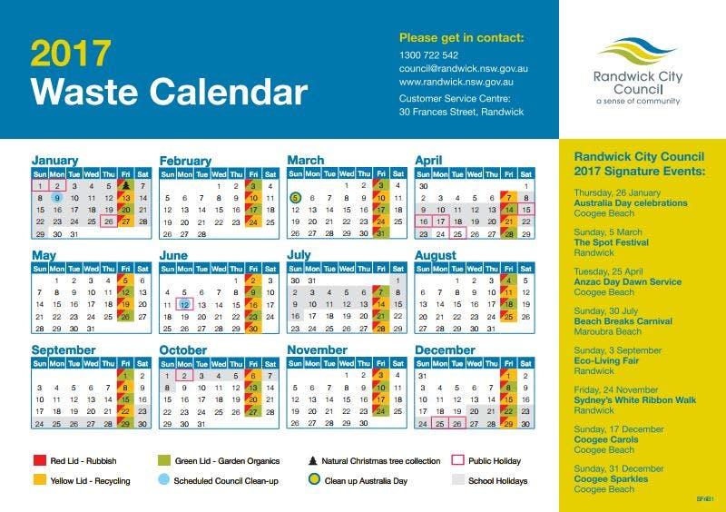 2017 Waste Calendar