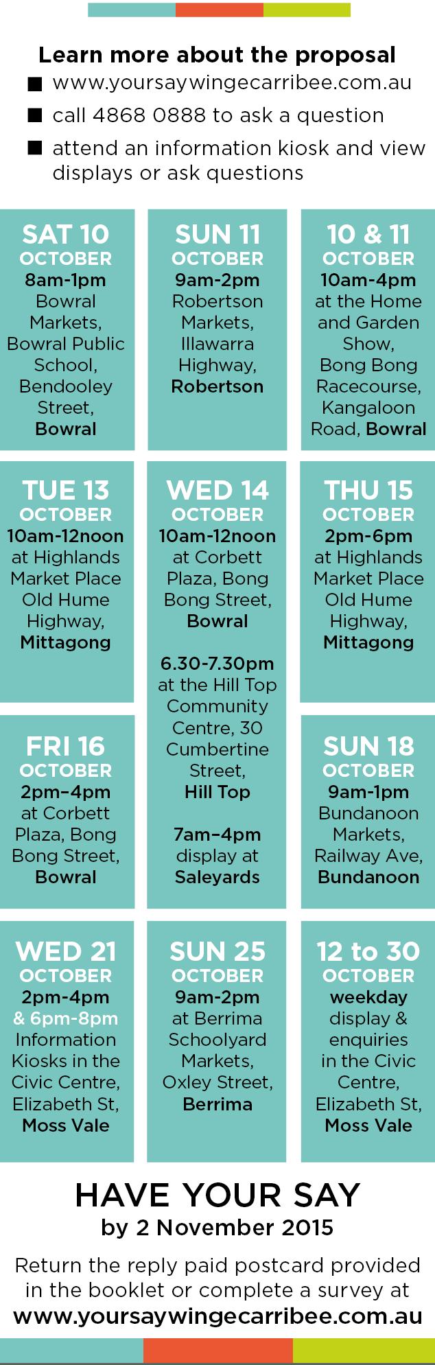 Calendar of Info Kiosk locations