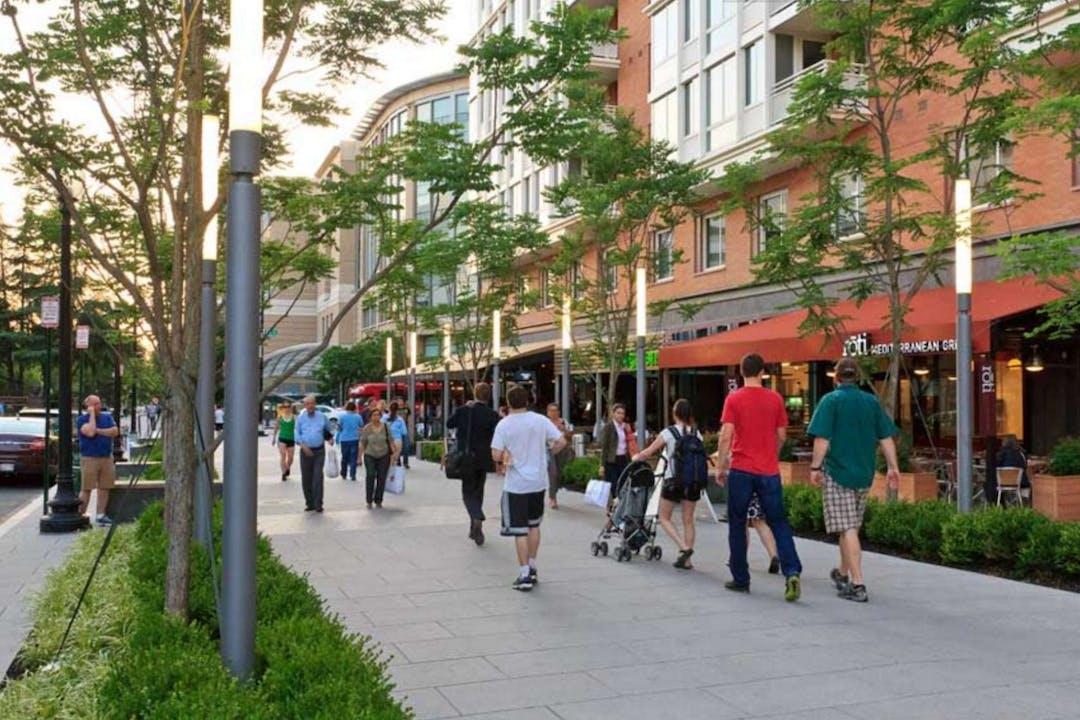 People walking in pedestrian mall