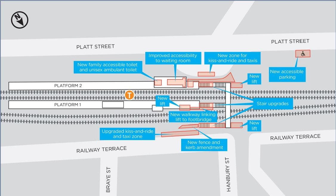 Proposed Waratah Station Upgrade, subject to change during detailed design.