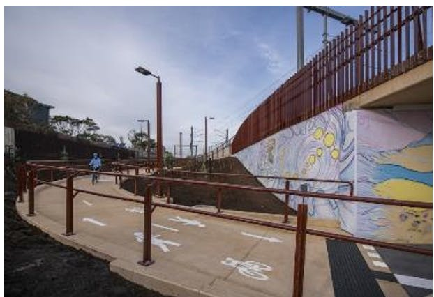 Shared pathway leading to underground pedestrian tunnel at Mascot Avenue, Bonbeach  (Level Crossing Removal Project, 2020).PNG