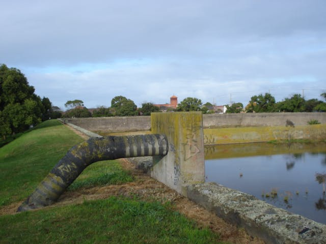 Old water inlet on Nth/East corner.