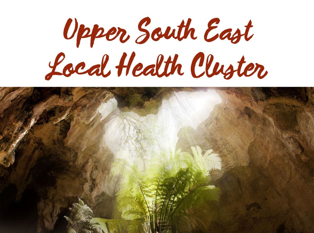 Image of Upper South East Local Health Cluster Script Logo viewed from inside a cave.