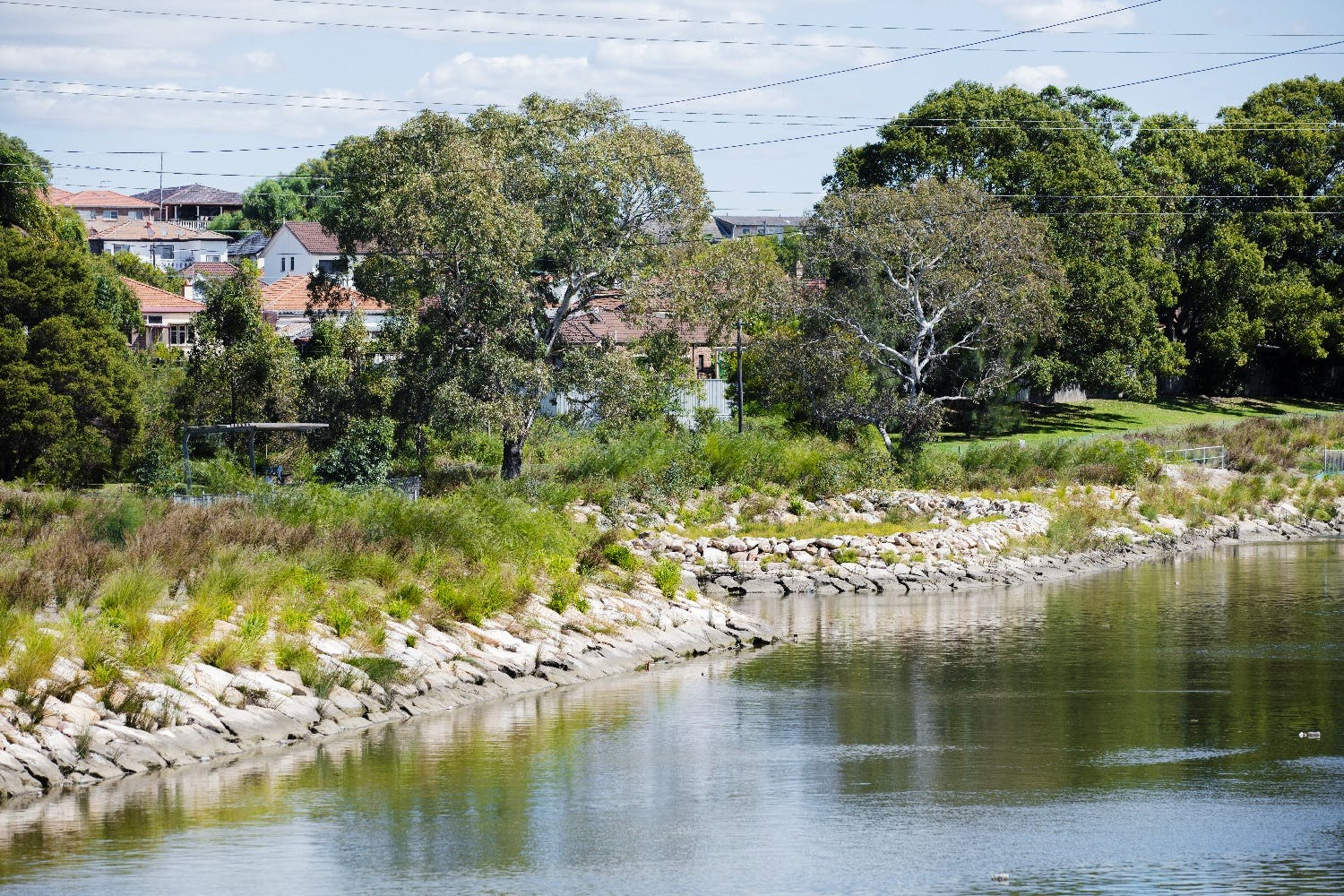 Gently sloping banks made up of sandstone boulders and low growing native plants will replace the old concrete banks (Photo Cooks River)