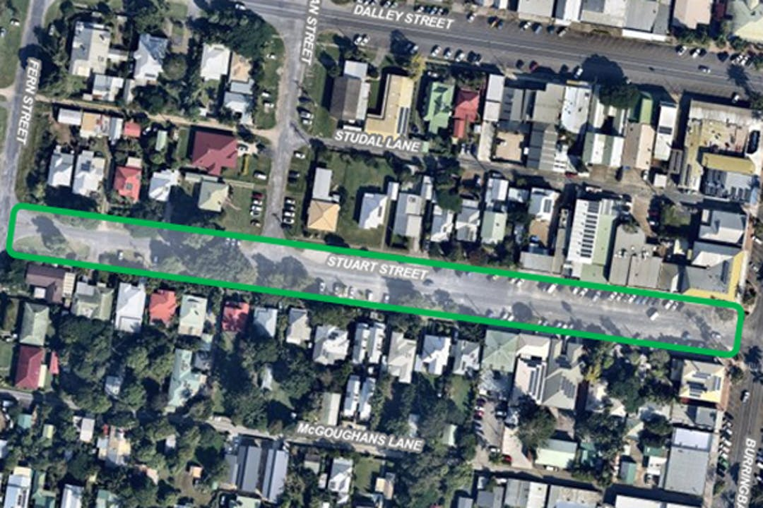 Map showing location of the section of Stuart Street Mullumbimby for upgrade works, between Fern and Burringbar Streets