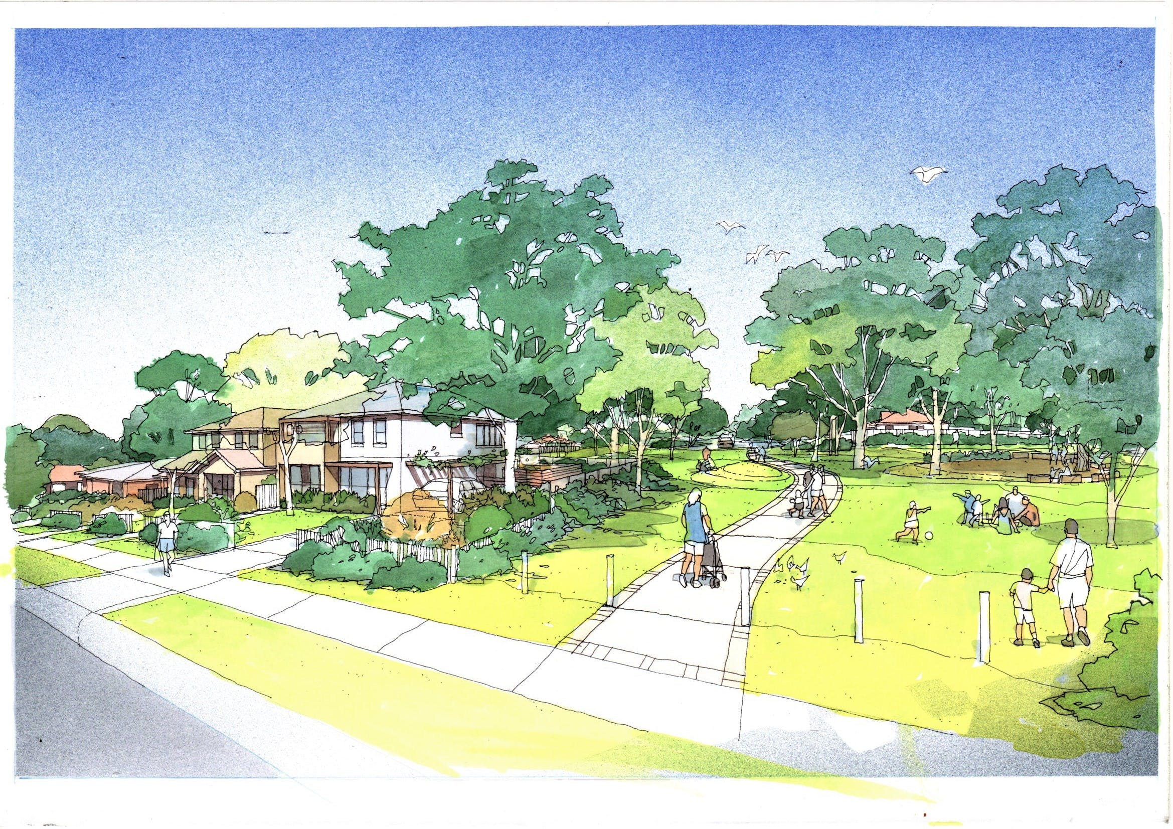 Artist impression of Capella Reserve improvements with new dwelling integrated to the east