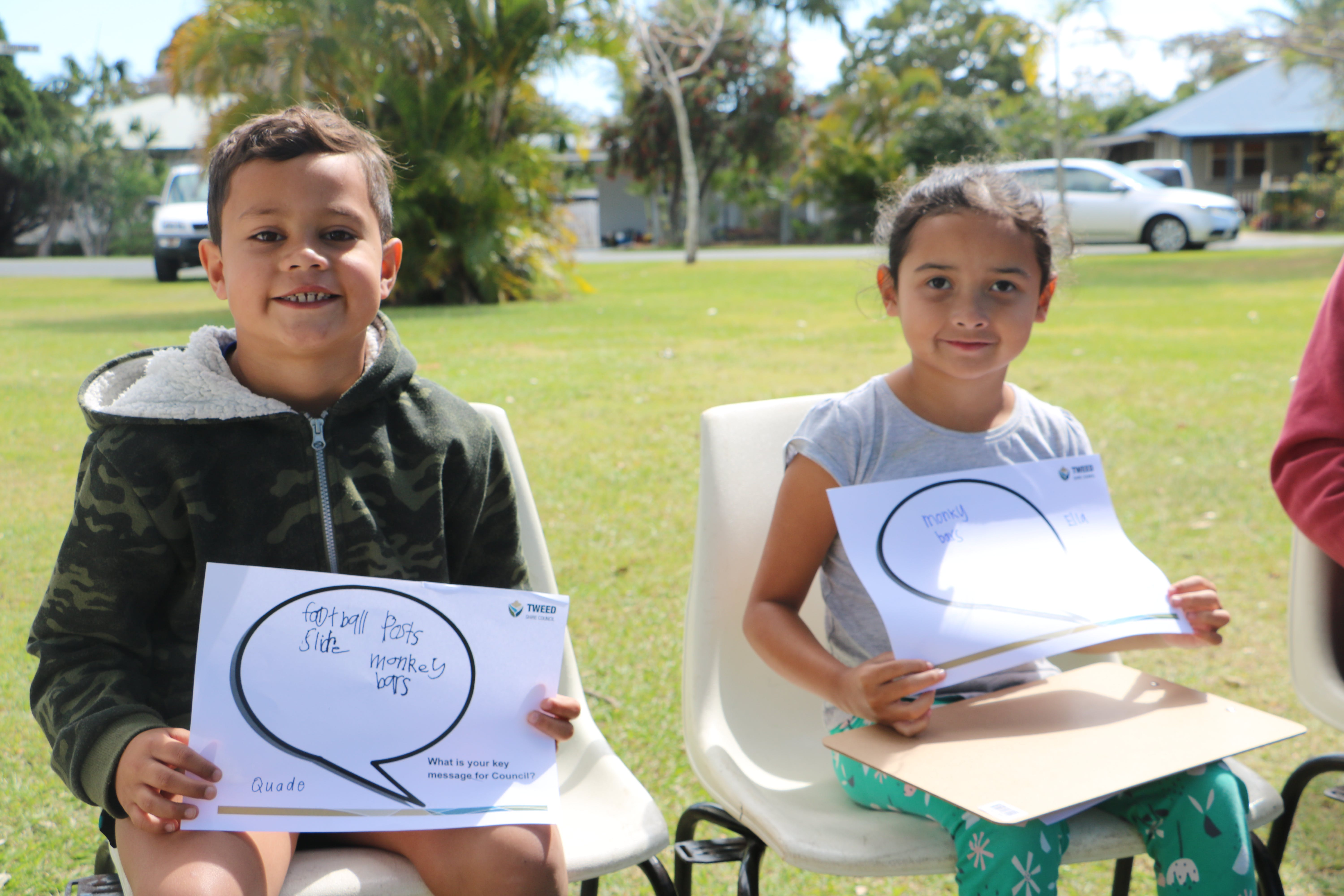 Local children sharing their ideas for the park upgrade at South Tweed Heads
