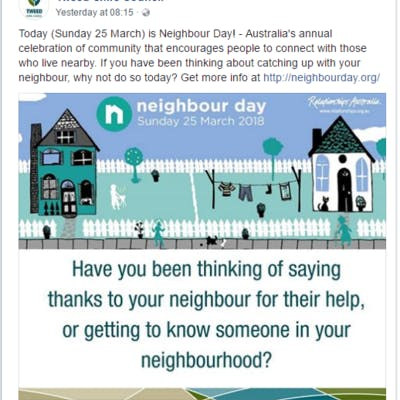 Neighbour day FB post