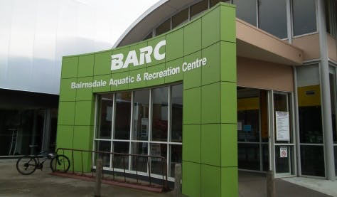 An image of the front entrance of Bairnsdale Aquatic and Recreation Centre
