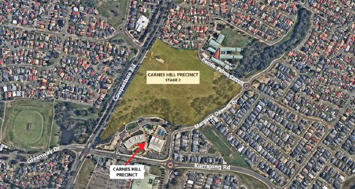 An aerial view of the Carnes Hill Community and Recreation Precinct.
